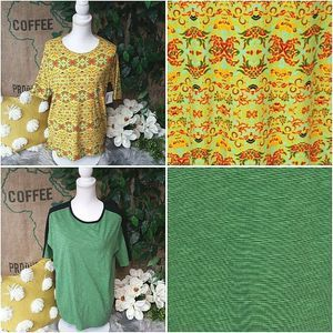 LuLaRoe Top Lot of 2 Casual Harvest Green Yellow